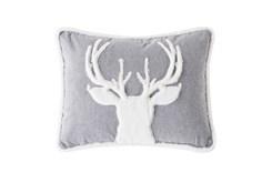 18X18 Farmhouse Plaid Fur Stag Pillow