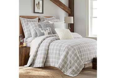 Full/Queen Comforter- 3 Piece Set Farmhouse Plaid Grey/White