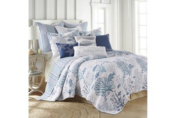 King Quilt-3 Piece Set Reversible Fish and Coral to Stipes