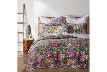 King Quilt-3 Piece Set Reversible Bright Floral Design to B&W Geometric