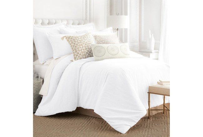 Queen Washed Linen Duvet Cover in White  - 360