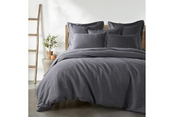 Queen Washed Linen Duvet Cover in Charcoal