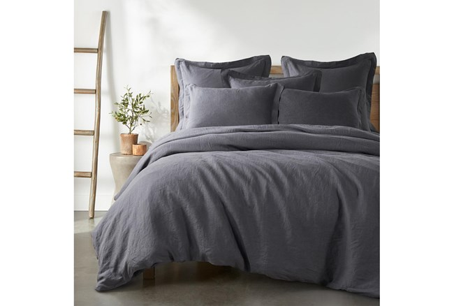 Queen Washed Linen Duvet Cover in Charcoal - 360