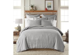 Twin Washed Linen Duvet Cover in Light Grey