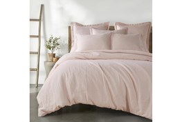 Twin Washed Linen Duvet Cover in Blush