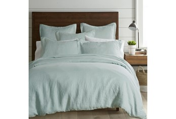 Queen Washed Linen Duvet Cover in Spa Blue