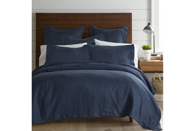 Twin Washed Linen Duvet Cover in Navy - 360