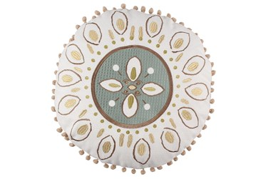 Round Medallion Tassel Pillow