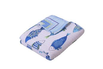 Quilted Reversible Throw Stipes to Fish Print