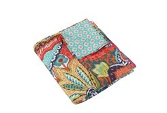Quilted Reversable Throw Colorful Design to Teal Medallions