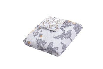 Quilted Reversible Throw Paisley Design to Geometric Pattern