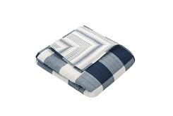 Quilted Throw Reversible Farmhouse Buffalo Plaid to Stripe, Navy