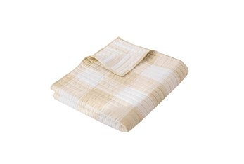 Quilted Reversible Throw Farmhouse Buffalo Plaid to Stripe, Taupe
