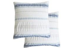 Euro Sham-Set of 2 Tribal Woven Stripe & Ruching White/Blue
