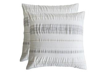 Euro Sham-Set of 2 Tribal Woven Stripe & Ruching White/Grey