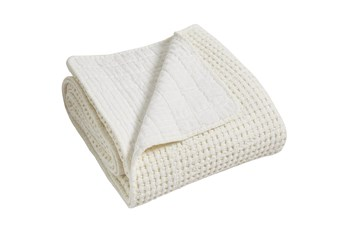 Waffle Quilted Throw White