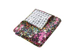 Quilted Reversible Throw Bright Floral Design to B&W Geometric