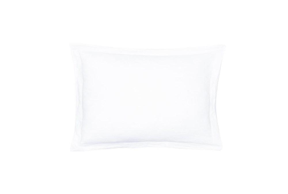 Standard Sham Washed Linen with Flange, White