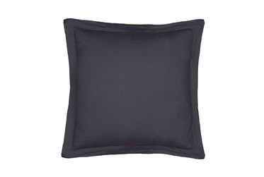 Euro Sham Washed Linen with Flange, Charcoal