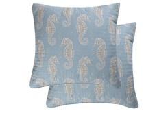Euro Sham-Set of 2 Sea Horse Print