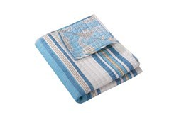 Quilted Reversible Throw Stripes to Sea Horse Print