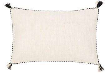 14X22 Cream White + Black Braided Edge Lumbar Throw Pillow With Tassel Corners