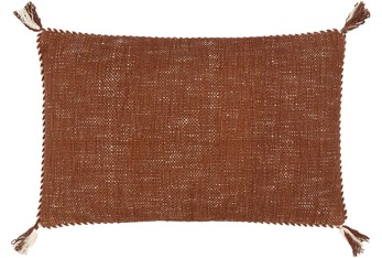 14X22 Burnt Orange + Cream Braided Edge Lumbar Throw Pillow With Tassel Corners