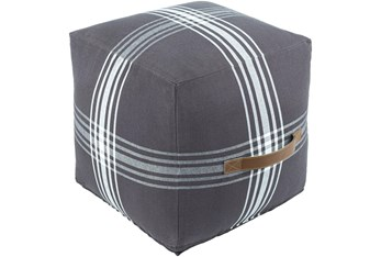 16X16 Charcoal + White Plaid Cube Pouf With Cognac Leather Handle