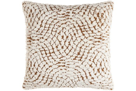 18X18 Camel + Ivory Knitted Curvy Harlequin Throw Pillow - Main