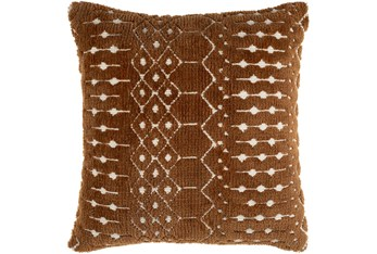 18X18 Camel + Ivory Knitted Zig Zag Multi Pattern Throw Pillow