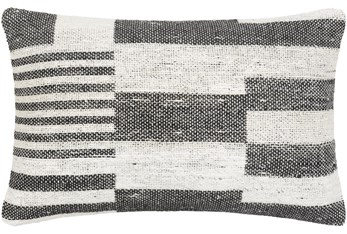 14X22 Charcoal Black + White Woven Broken Stripe Throw Pillow