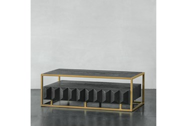 Dark Natural Elm + Gold Coffee Table