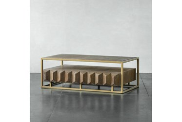 Natural Elm + Gold Coffee Table