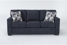 "Carbondale Blue 84"" Queen Sleeper Sofa"