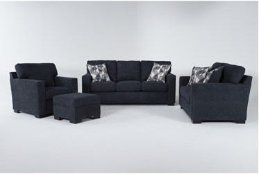 Carbondale Blue 4 Piece Living Room Set With Queen Sleeper