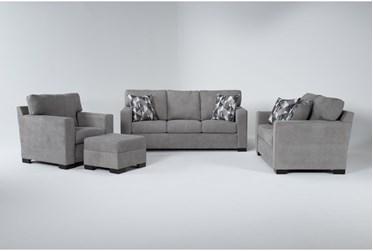 Carbondale Light Grey 4 Piece Living Room Set With Queen Sleeper