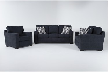 Carbondale Blue 3 Piece Living Room Set With Queen Sleeper
