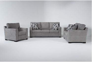 Carbondale Light Grey 3 Piece Living Room Set With Queen Sleeper