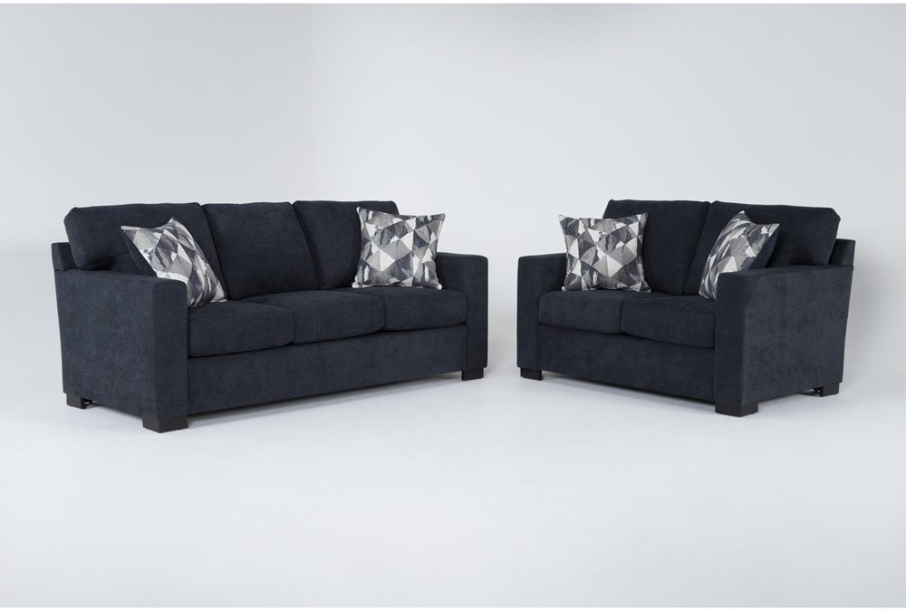 Carbondale Blue 2 Piece Living Room Set With Queen Sleeper
