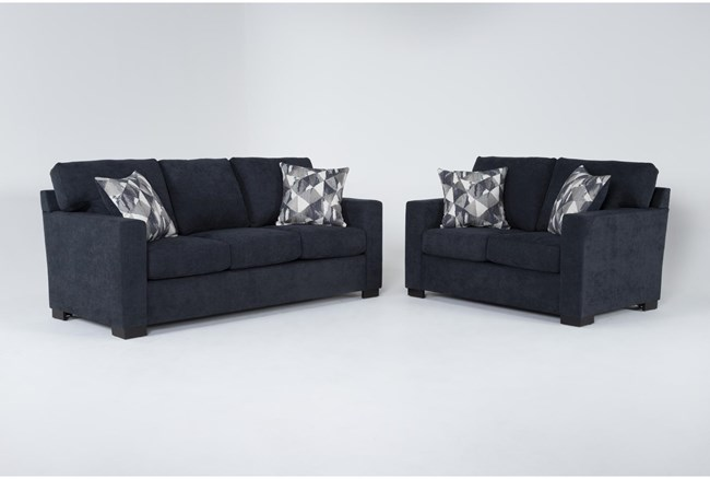 Carbondale Blue 2 Piece Living Room Set With Queen Sleeper - 360
