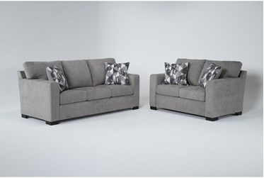 Carbondale Light Grey 2 Piece Living Room Set With Queen Sleeper