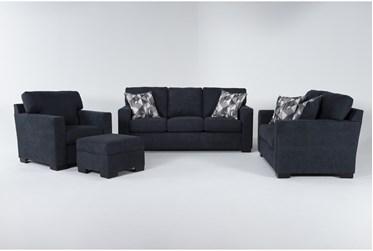 Carbondale Blue 4 Piece Living Room Set