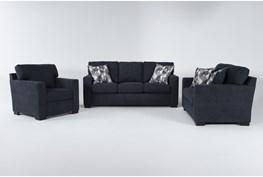 Carbondale Blue 3 Piece Living Room Set