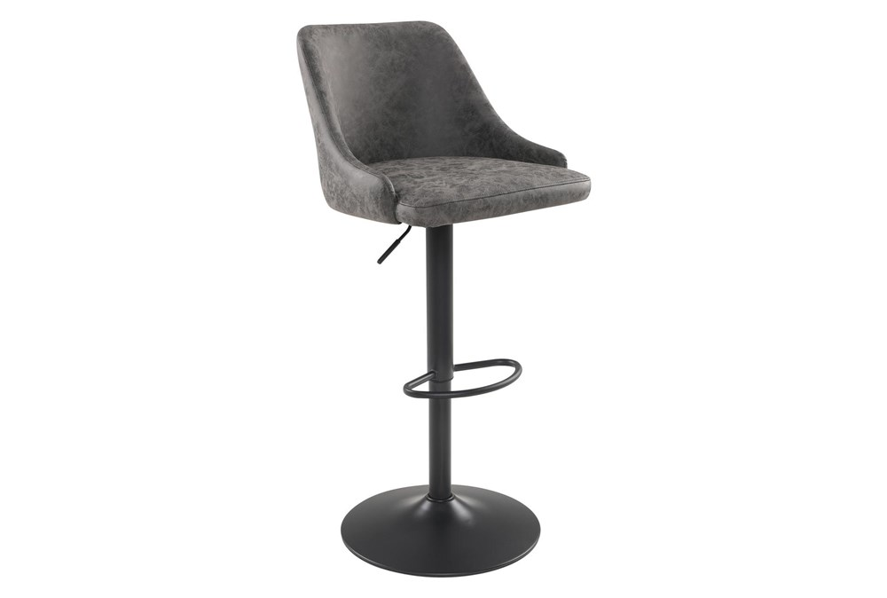Sylmar Charcoal Faux Leather Adjustable Stool