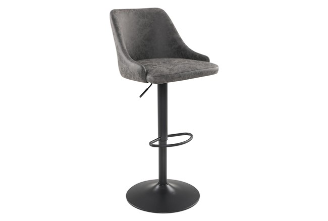 Sylmar Charcoal Faux Leather Adjustable Stool - 360