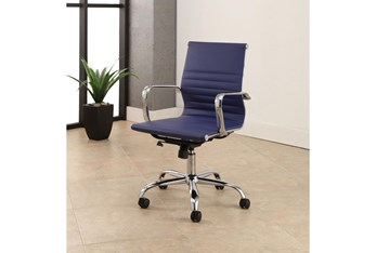 Samuel Silver Finish Leather Office Chair Navy