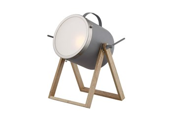 14 Inch Grey Metal + Natural Wood Spot Light Table Lamp