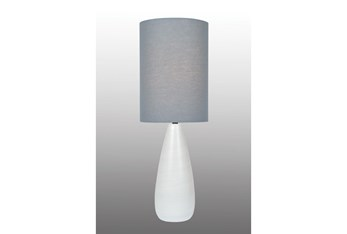 28 Inch White Ceramic Medium Bottle Basic Table Lamp With Grey Shade