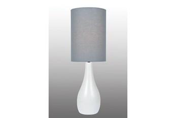 31 Inch White Ceramic Large Bottle Basic Table Lamp With Grey Shade