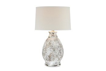 """26.5"""" White Wash Hydrocal Table Lamp"""